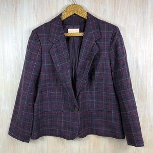 Pendleton Plaid Purple Pink Vintage Blazer Jacket
